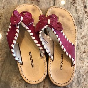 Girls Pink Butterfly Leather Sandals By